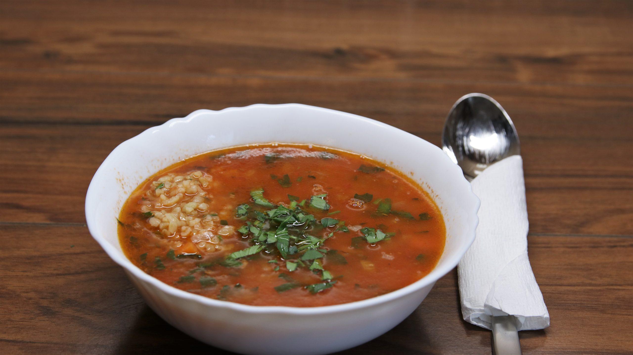 Bulgur Soup with Lemon and Parsley